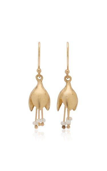 Allium Blossom 14K Yellow Gold Pearl Earrings