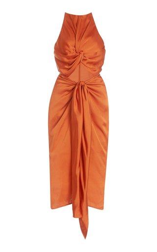 Reni Cutout Twisted Satin Midi Dress