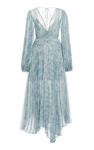 Astone Floral Plisse Handkerchief Dress