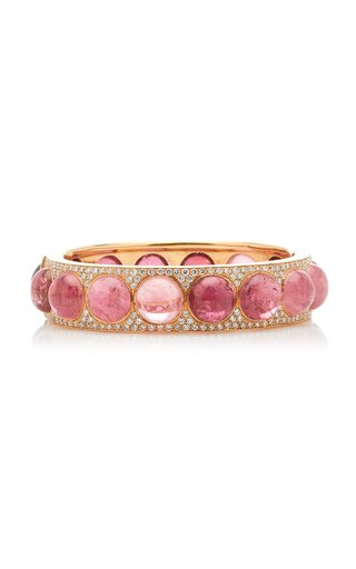 One Of A Kind Gemmy Gem Bangle With Pink Tourmaline & Diamond Pave