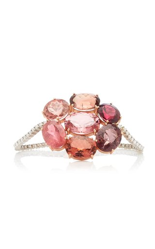One Of A Kind Gemmy Gem Tennis Bracelet With Shades Of Pink, Rubellite & Cognac Tourmaline & Full Cut Diamonds