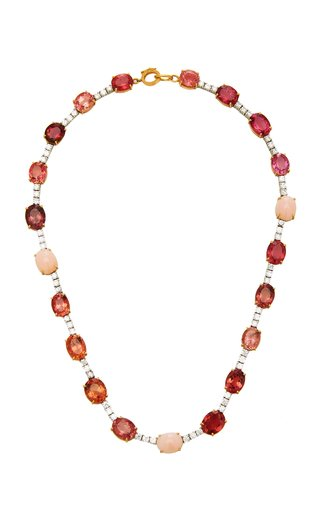 One Of A Kind Gemmy Gem Tennis Necklace With Pink Tourmaline, Pink Opal & Full Cut Diamond