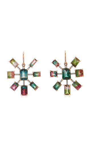 One Of A Kind Gemmy Gem Earrings With Bi-Color Tourmaline, Watermelon Tourmaline & Full Cut Diamonds
