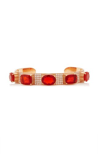 One Of A Kind Gemmy Gem Cuff With Fire Opal & Diamond Pave