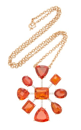 One Of A Kind Gemmy Gem Necklace With Fire Opal & Diamond Pave