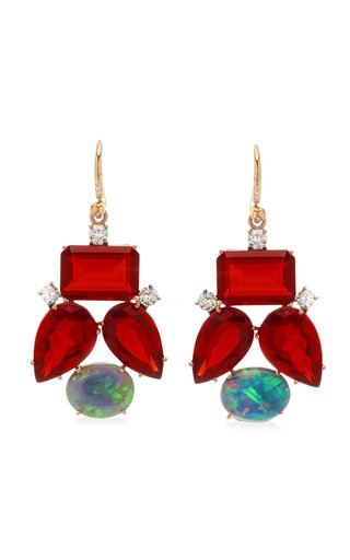 One Of A Kind Gemmy Gem Earrings With Fire Opals & Full Cut Diamond