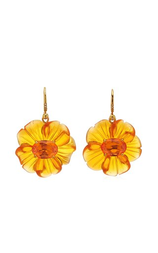 One Of A Kind Tropical Flower Earrings With Carved Fire Opal Flower & Fire Opals