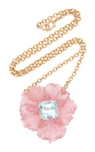 One Of A Kind Tropical Flower Necklace With Pink Tourmaline Carved Flower & Aquamarine