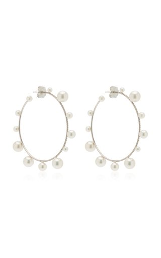 Mixed Size White Round Cultured Akoya Pearls & Diamond Pave Hoops