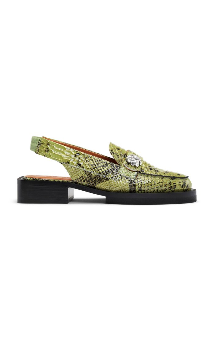 Embossed Snake Loafers