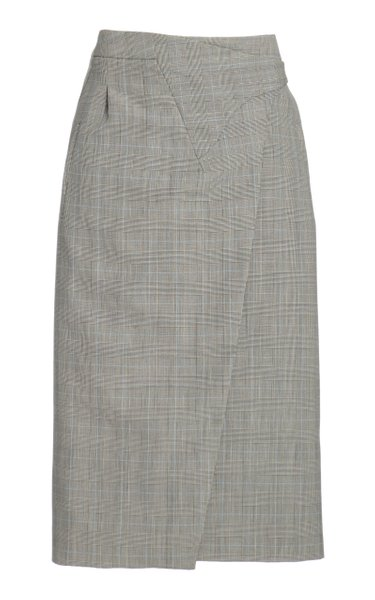 Wool Midi Wrap Skirt