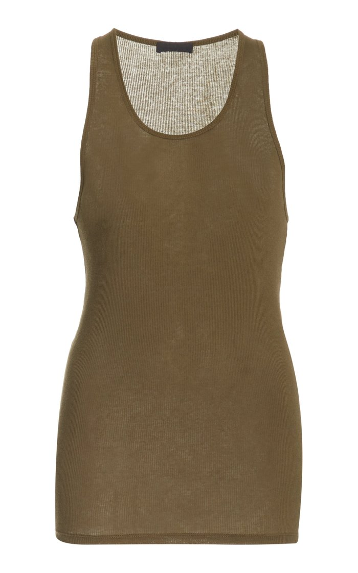 Ribbed-Knit Cotton Tank Top