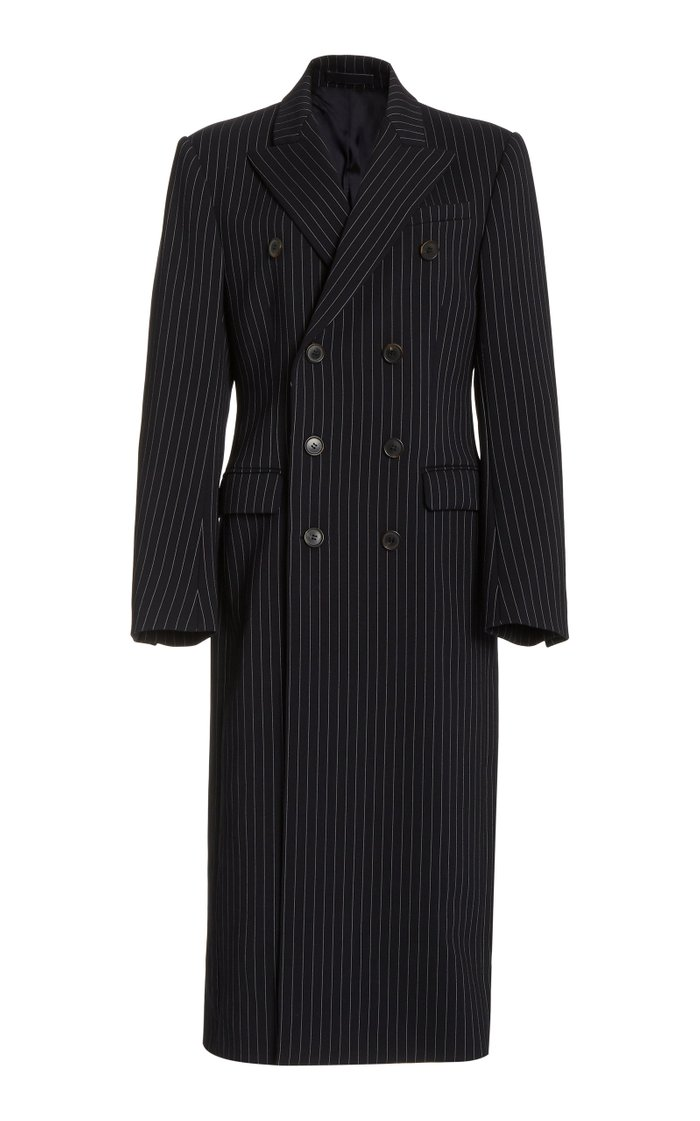 Double-Breasted Striped Wool Coat