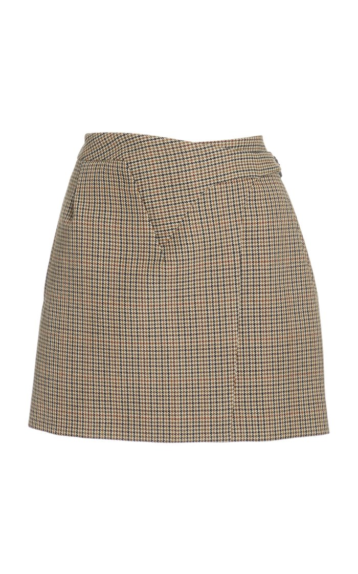 Houndstooth Mini Wrap Skirt