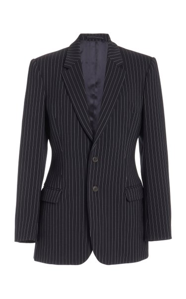 Pinstriped Contour Wool Blazer