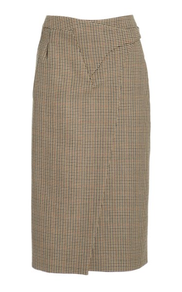 Wrap Midi Skirt Houndstooth