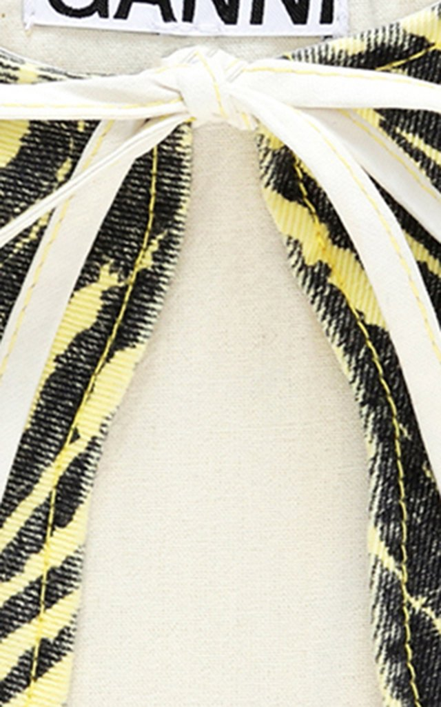 Striped Cotton Denim Collar