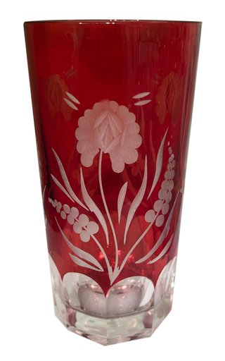 Etched Red Crystal Highball