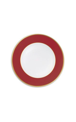 Red & 24K Gold Large Dinner Plate