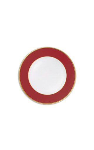 Red & 24K Gold  Dessert Plate