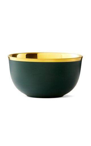 Champagne Bowl Forest Green Matt & 24K Gold
