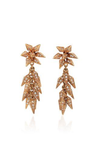 Trickling Diamond Icicle 18K Rose Gold Earrings
