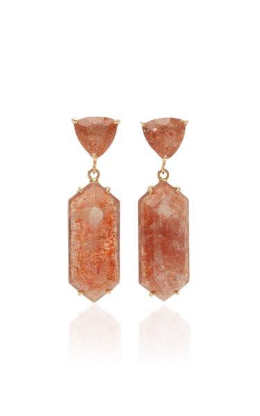 Hexagon 18K Rose Gold Sunstone Earrings