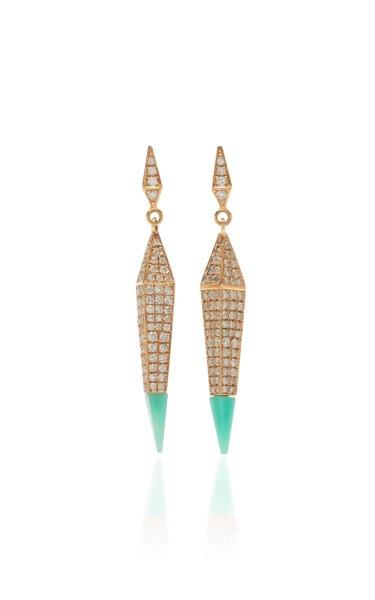 Spear 18K Rose Gold Chrysoprase, Diamond Earrings