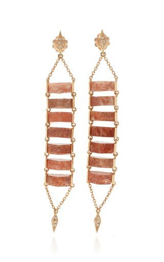 Ladder 18K Rose Gold Sunstone, Diamond Earrings