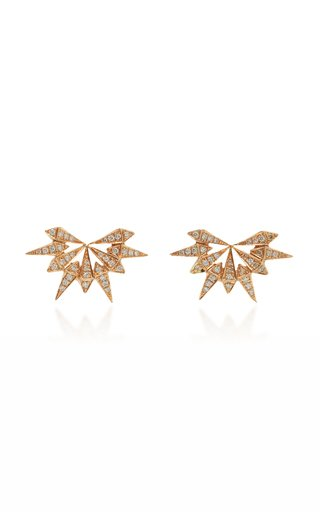 Starburst 18K Rose Gold Diamond Earrings