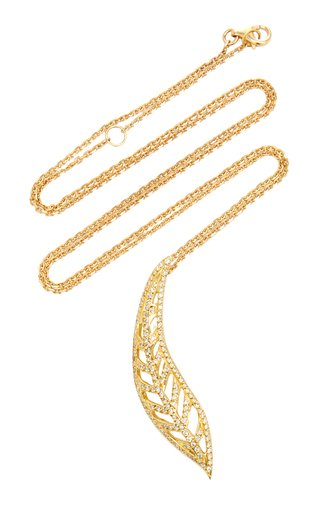 Autumn Leaf 18K Yellow Gold Diamond Necklace