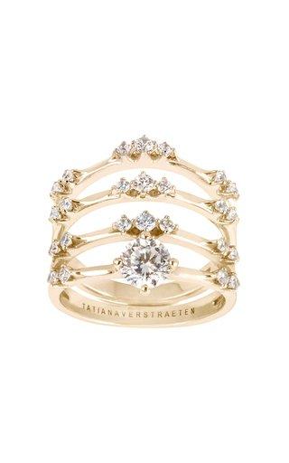 18K Gold Solitaire Diamond Luna 4 Ring