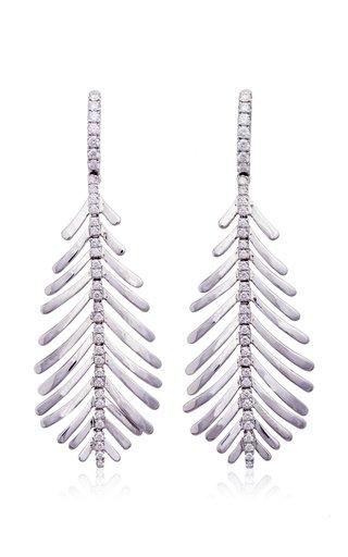 18K White Gold Plume Earrings