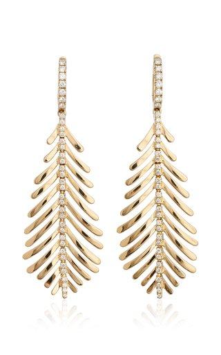 18K Yellow Gold Plume Earrings
