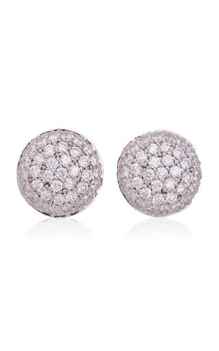 18K White Gold Perfect Pave Button Earrings
