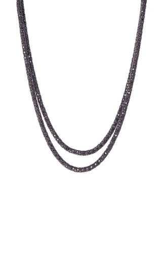 18K White Gold Black Diamond Rope Necklace