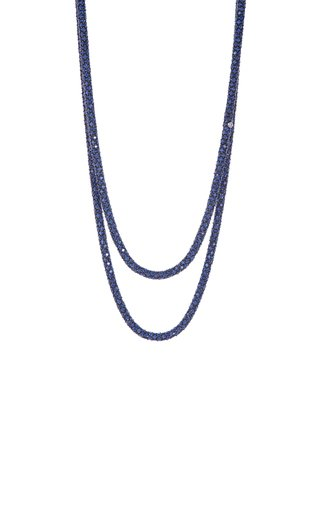 18K White Gold Sapphire Rope Necklace