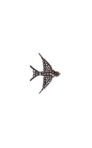 18K Yellow Gold and Silver Swallows Brooch