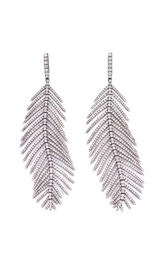 18K White Gold Feathers that Move Earrings