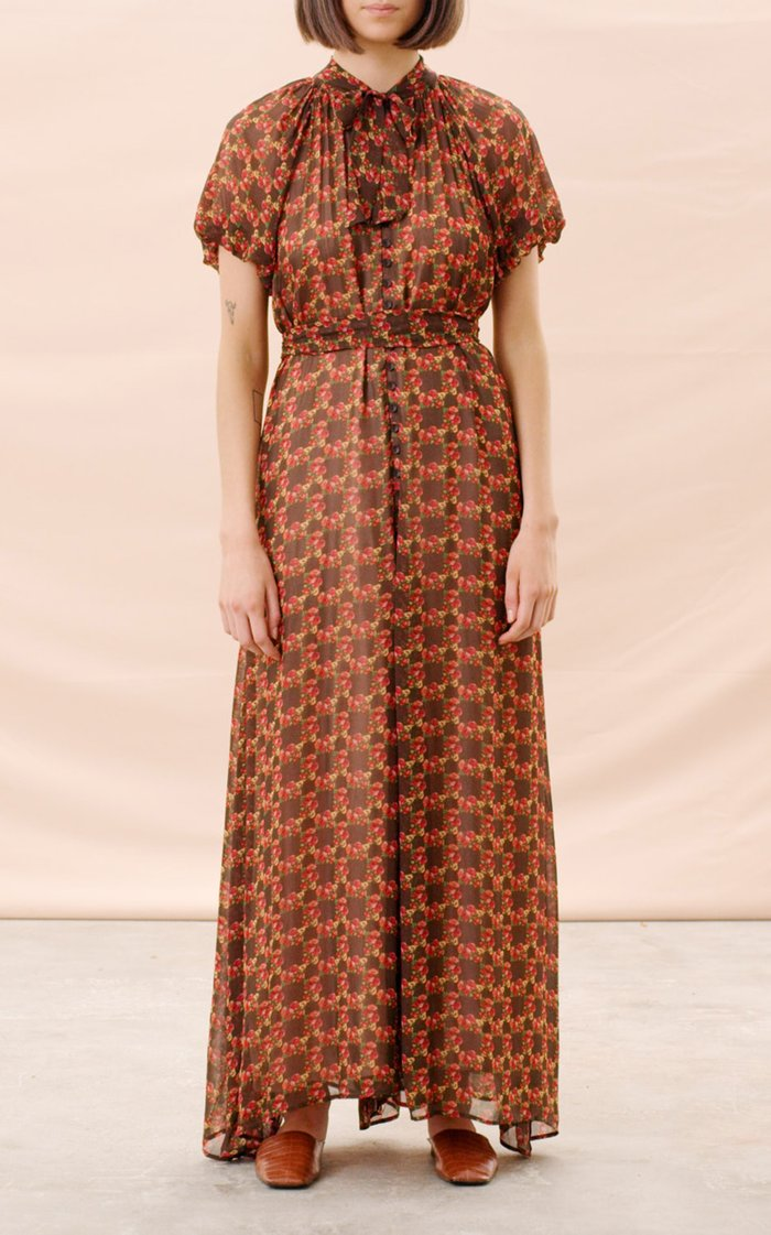 Belted Georgette Maxi Dress
