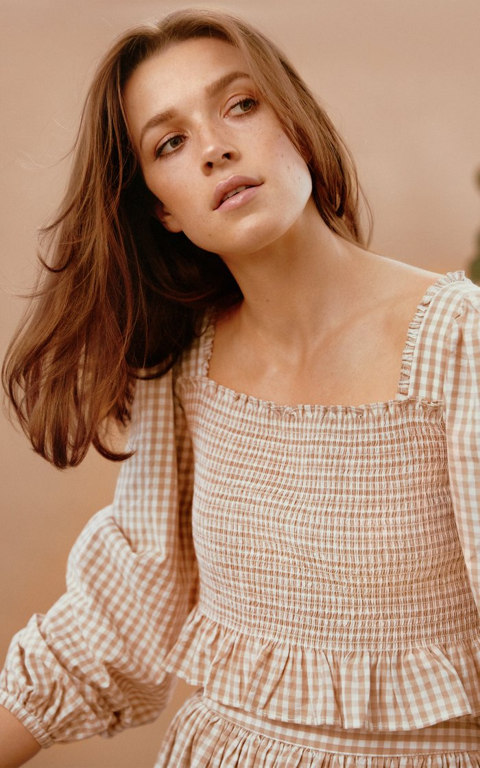 Smocked Gingham Cropped Top