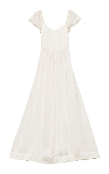 Tie-Accented Satin Maxi Dress
