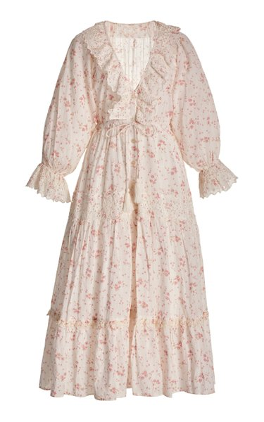 Floral Slub Cotton Midi Dress