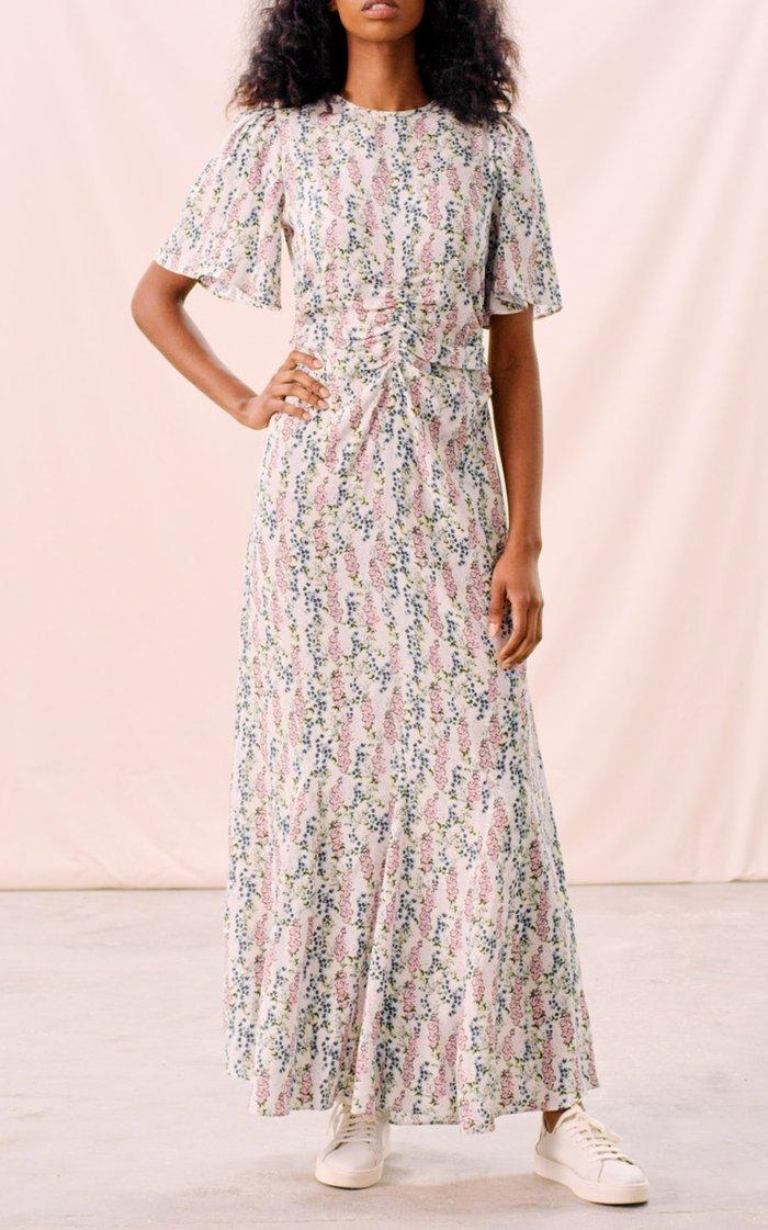 Ruched Jacquard Maxi Dress