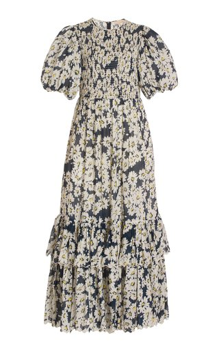 Smocked Floral Dobby Seersucker Maxi Dress