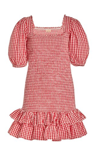 Smocked Checkered Mini Dress
