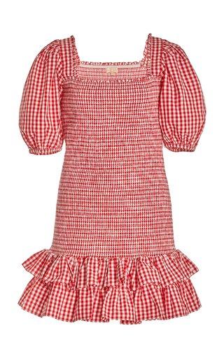 Smocked Gingham Cotton Mini Dress