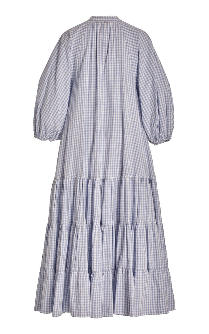 Tiered Gingham Cotton Midi Dress