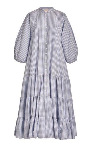Tiered Gingham Cotton Midi Dress
