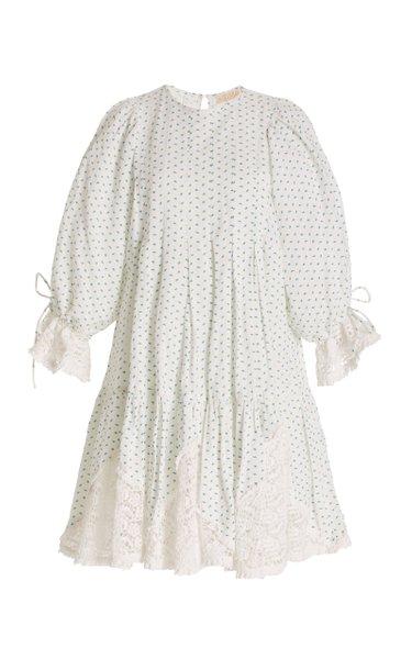 Lace-Trimmed Floral Linen-Cotton Mini Dress